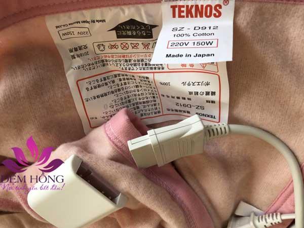 Chăn điện Teknos khổ 160x190 bảo hành 24 tháng, giao hàng miễn phí toàn quốc.