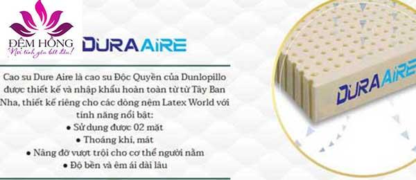 Cao su Dure Aire là cao su độc quyền của Dunlopillo nhập khẩu từ Tây Ban Nha