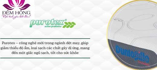 Purotex - công nghệ mới trong ngày dệt may giảm thiểu độ ẩm, loại sạch các chất gây dị ứng, mang đến một giấc ngủ sạch và tốt cho sức khỏe.