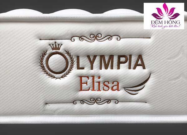 Mẫu logo đệm lò xo Elisa được thêu sắc nét tinh xảo