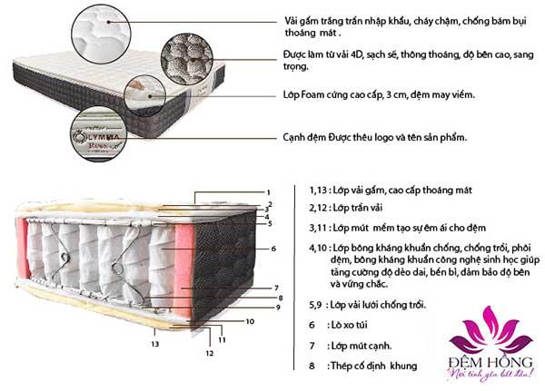 Kết cấu đệm lò xo túi Olympia Rosa