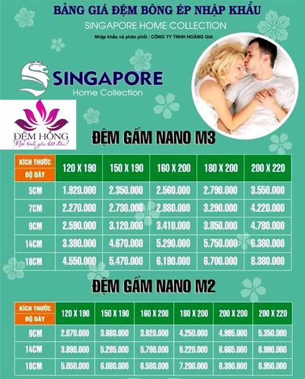 Bảng giá công ty đệm bông Nano Singapore cao cấp