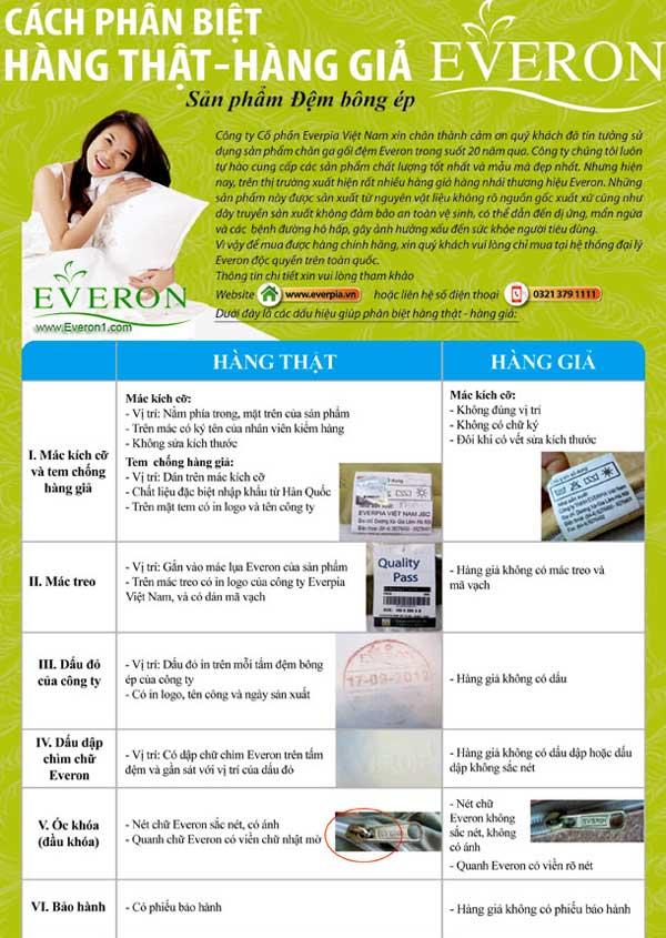 Nhận biết đệm Everon chính hãng