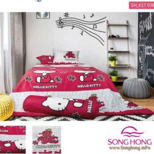 Mẫu chăn ga gối Hello Kitty mã K17-038 chính hãng Sông Hồng