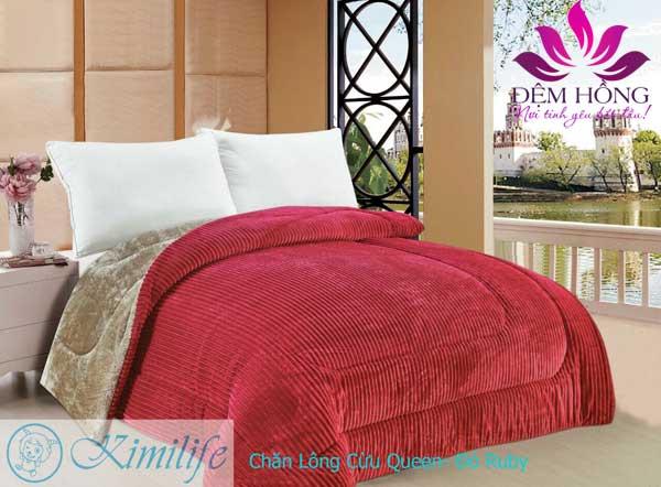 Chăn lông cừu Queen KimiLife - Đỏ Ruby