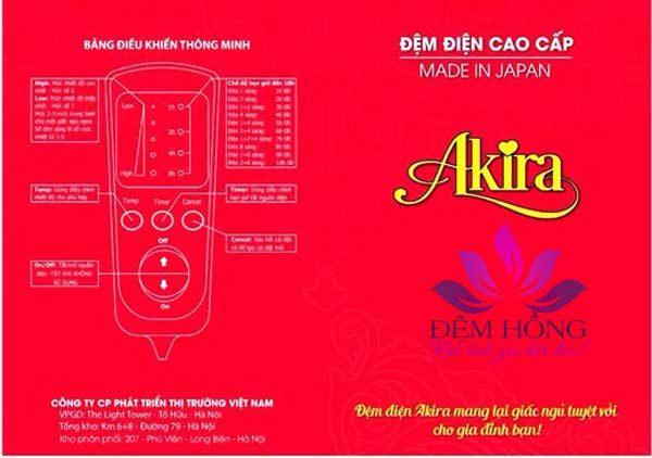 Bảng hướng dẫn sử dụng đệm điện Akira