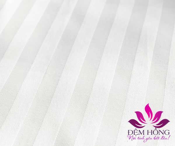 Vải trắng kẻ sọc cao cấp chuyên dùng cho giường khách sạn