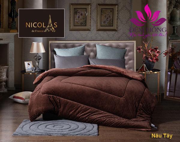 Nơi bán chăn lông cừu Nicolas màu nâu socola chất lượng cao