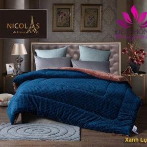 Tổng kho chăn lông cừu đến từ Pháp Nicolas Màu xanh Lục Bảo sang trọng