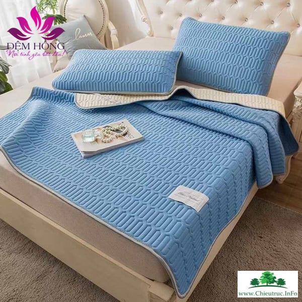 Chiếu thảm Tencel cao cấp màu xanh dương