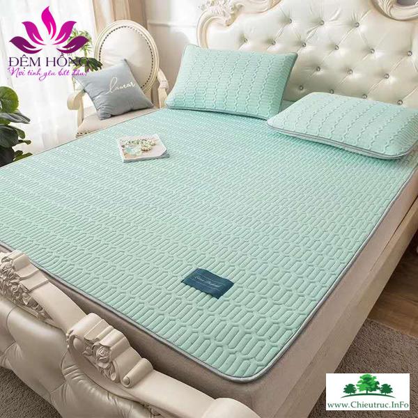Mẫu thảm Tencel đơn sắc mầu xanh lá nhạt đẹp sang trọng