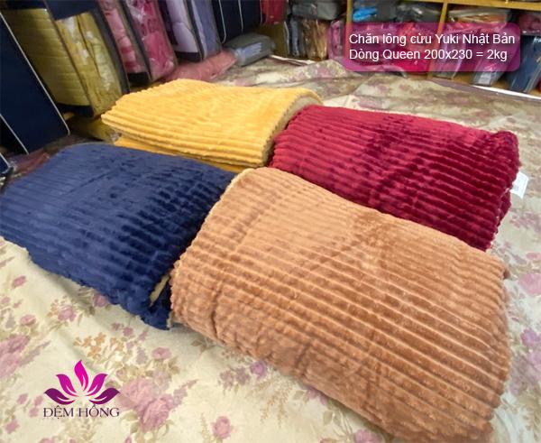 4 mầu chăn lông cừu Yuki Queen Nhật Bản