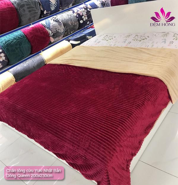 Chăn lông cừu Yuki Queen mầu Đỏ đun
