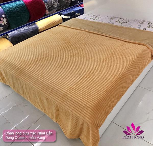 Chăn lông cừu Yuki Queen mầu Vàng