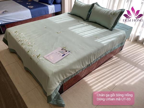 Bộ chăn ga gối Tencel + cotton T250 mã mầu UT-03 chính hãng Sông Hồng